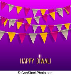 Congratulation banner with hanging flags on Happy Diwali Holiday