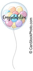 Congratulation card with colorful balloons