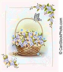 congratulation., estilo, card., vindima, saudação, cesta, vitoriano, aniversário, roses., floral, feriado, frame.