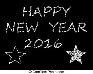 congratulation Happy New Year 2016, black and whute with ...