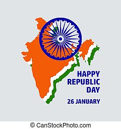 Congratulation Happy Republic Day with India map.