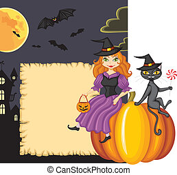 Congratulation on Halloween with a witch and a cat