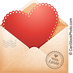 Congratulation on Valentine's Day in open envelope and...