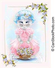 congratulation., pełny, card., violets., rocznik wina, powitanie, kot, kosz, urodziny, kwiatowy, portret, święto, frame.