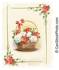 congratulation., stijl, card., ouderwetse , groet, mand, victoriaans, jarig, roses., floral, vakantie, frame.
