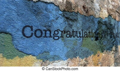 Congratulation text on torn paper