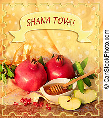 Congratulation to the holiday Rosh Hashanah, traditional...