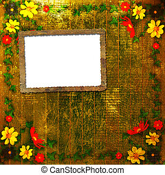 Congratulation to the holiday with frame and flowers
