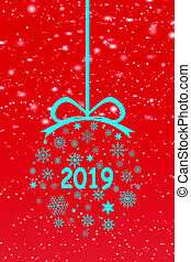 Congratulation to the New Year 2019, blue Christmas background, illustration