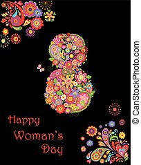 Congratulation with flowers number 8 for International Women's day