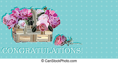 congratulation with roses in a basket