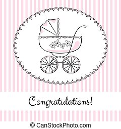 Congratulations 2 - Retro baby carriage in frame on the...