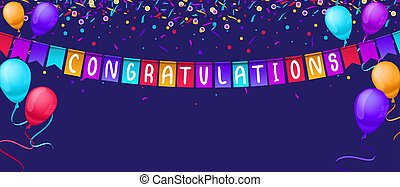 Congratulations banner template with balloons and confetti isolated on blue background. Festive greeting card template for birthday party, competitions etc. Vector congratulations illustration