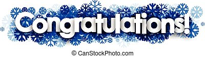 Congratulations banner with blue snowflakes. - White...
