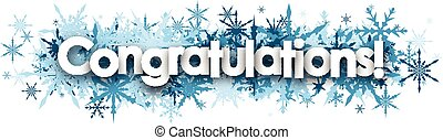 Congratulations banner with blue snowflakes.