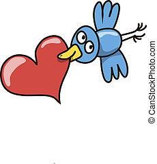 Congratulations - Bird flies smiles, holding in its beak a...
