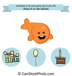 Congratulations birthday with a character