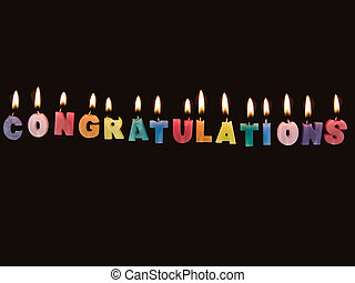 Bright colored candles with flame saying congratulations