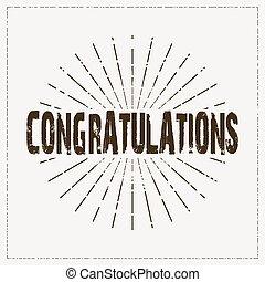 congratulations card retro design, achievement text ...
