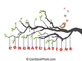 Congratulations greeting card with bird. This image is a vector illustration.