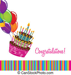 congratulations card with cake and balloons over white ...