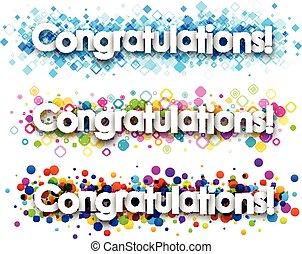 Congratulations colour banners set. Vector paper...