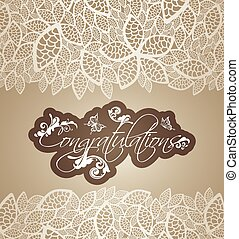 Congratulations cream lace borders