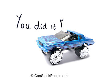 Congratulations Driver's License with old toy car model