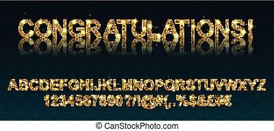 congratulations., fuentes, oro, alfabético