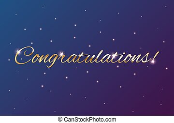 Congratulations golden sign on holiday background. Vector illustration.