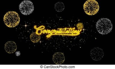 Congratulations Golden Text Blinking Particles with Golden Fireworks Display