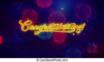 Congratulations Greeting Text Sparkle Particles on Colored Fireworks