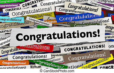 Congratulations Headlines Good News Announcement Big Winner 3d Illustration