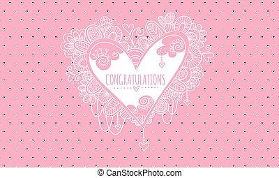 Congratulations Heart Pink & White