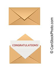 Congratulations - Mail envelope with congratulation letter. ...