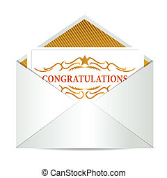congratulations mail illustration design over a white...