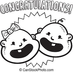 Congratulations new baby sketch - Doodle style...