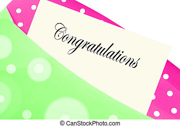Congratulations note or letter in pink and green polkadot envelope