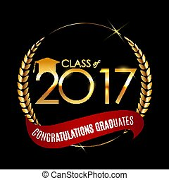 Congratulations on Graduation 2017 Class Background Vector Illustration