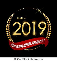 Congratulations on Graduation 2019 Class Background Vector Illustration