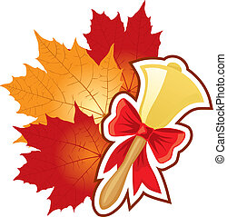 Congratulations on September 1 with the school bell and autumn leaves