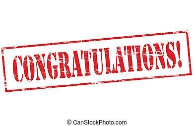 Rubber stamp with word congratulations inside, vector illustration