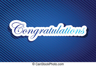congratulations sign background on a blue lines pattern