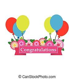 Congratulations sign has flower an