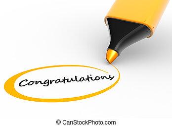 """Congratulations - Marker and word """"congratulations """". 3d..."""