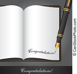 congratulations text over book with pen. vector illustration