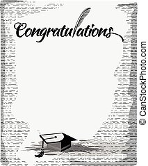 Congratulations text  with quill pen
