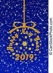 Congratulations to the 2019 New year blue Christmas background, illustration