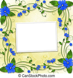 Congratulations to the holiday with frame and blue flowers