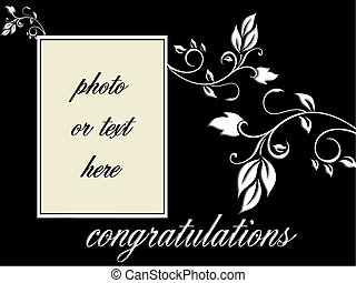 congratulations vector with foliage and blank space ro add...
